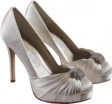 """Product Description      A fabulous, super high round toed platform with soft pleats and a beautiful diamante statement trim.     Heel height: Approx 4.5"""" ( 11.5 cm ) (Last L)     Material: Ivory Silk Satin (dyeable)"""