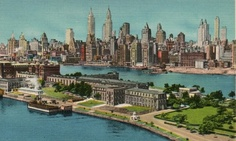 1941 Midtown New York Skyline Showing Welfare Island New York Post Card Nyc Skyline, Manhattan Skyline, Model Ship Building, Cities, Roosevelt Island, City Hospital, New York Apartments, Canada Images, Vintage New York