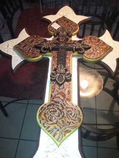 Large wooden wall cross 4d by ginaroddesigns on Etsy, $150.00