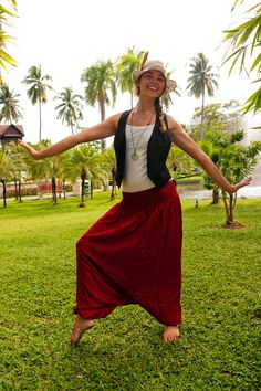 Cotton Harem Pants Dark Red SXL one size fits all by amonchai, $27.00