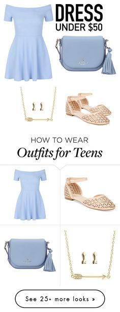 """Lught blue"" by stylishdirectioner on Polyvore featuring Wanted, New Look, Kate Spade and Dressunder50"