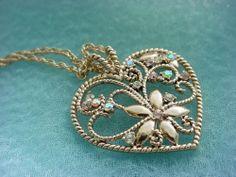 Rhinestone Heart Pendant Necklace Iridescent Gold tone Ornate Openwork #Unbranded #Pendant