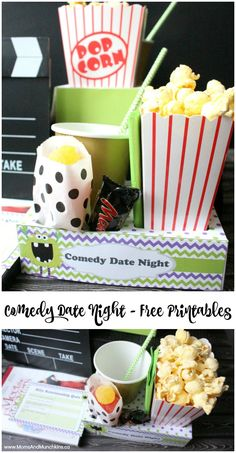 Comedy Movie Date Night Printables - these could work for a family fun night or date night with your spouse. Includes free date night printables!