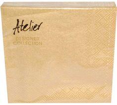 Serviett Kaffe - Gull - 20 stk - hos Til Bryllupet Gull, Designer Collection, Napkins, Atelier, Towels, Napkin