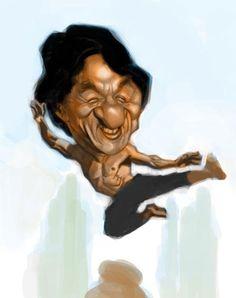 Jackie  Chan by Ariel Medel, caricature cartoon portrait drawing face stylized