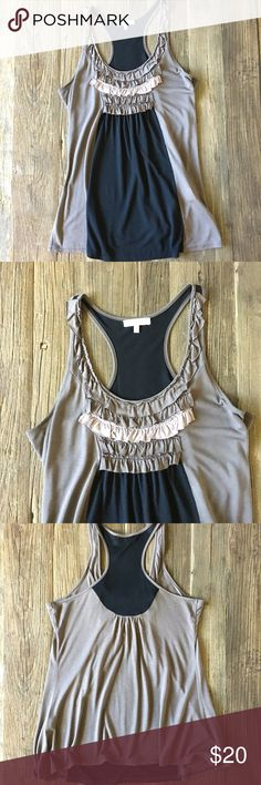 Mystree black and taupe ruffle swing tank This is such a great summer tank top!  Perfectly drapery and comfortable with unique color blocking in taupe and black and a front ruffle detail. Mystree Tops Tank Tops