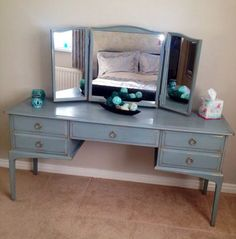 Transformed Dark wood Stag dressing table with Duck egg ChalkTM paint decorative paint by Annie Sloan. Stag Furniture, Annie Sloan Painted Furniture, Annie Sloan Paints, Reclaimed Furniture, Painting Furniture, Furniture Ideas, Dressing Table Upcycled, Dressing Table Paint, Dressing Tables