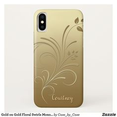Gold on Gold Floral Swirls Monogram iPhoneX case