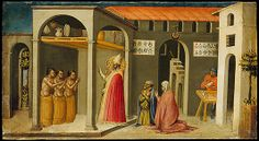 Saint Nicholas Resuscitating Three Youths Bicci di Lorenzo  (Italian, Florence 1373–1452 Florence)  Date:     1433–35 Medium:     Tempera and gold on wood Dimensions:     12 x 22 1/4 in. (30.5 x 56.5 cm) Classification:     Paintings Credit Line:     Gift of Francis Kleinberger, 1916 Accession Number:     16.121