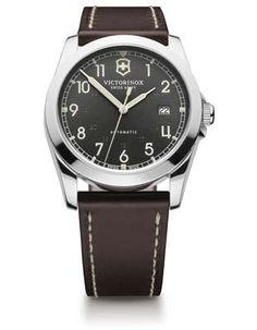Victorinox Swiss Army Infantry Mens Automatic - Dark Grey Dial - Steel - Leather