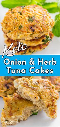 Tuna Low Carb Recipe, Tuna Recipes, Seafood Recipes, Keto Recipes, Protein Recipes, Salmon Recipes, Tuna Cakes Easy, Tuna Fish Cakes, 100 Calories