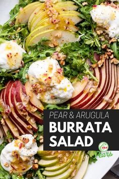 Burrata Salad, Burrata Cheese, Arugula, Pear Recipes Breakfast, Healthy Salads, Healthy Eating, Pear Varieties, Pear Salad, Vegetarian Recipes