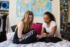 Students relaxing in their room wearing the new Wageningen University sweatpants
