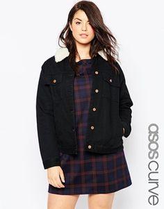 ASOS CURVE Classic Borg Denim Jacket in Black