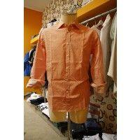 Ferrante 10102/362 camicia uomo colore arancio con decorazione fiori bianchi, disponibilità anche blu, 100% cotone