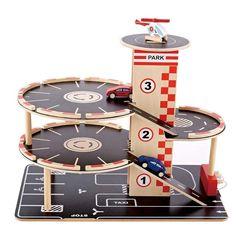 Hape Toys Park & Go Garage Playset Wooden Toy Garage, Wooden Car, Wooden Garages, Hape Toys, Pompe A Essence, Cardboard Crafts, Toys Shop, Wood Toys, Diy Toys