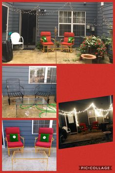 My grandmother gave me her old white vintage metal chair I left it alone and another set with the matching table. I found some yellow patio spray paint at ollies and went to town.( I love that place)Got some red cushions and two old looking throw pillows I got in philly that are actually Tommy Hill figure, hung up some Christmas lights. Have and old wagon made it a planter. The top picture was takin three months after I started the project. That's the finished product.
