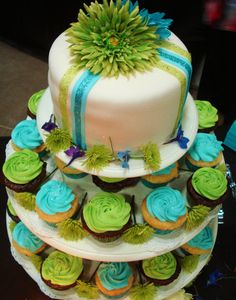Bright Green and Blue Wedding Cake and Cupcakes