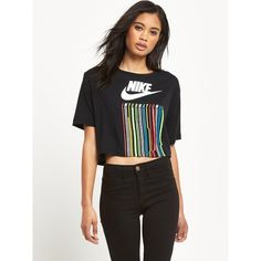 Nike International Cropped T-Shirt ($32) ❤ liked on Polyvore featuring tops, t-shirts, crop t shirt, graphic t shirts, crop tee, cotton logo t shirts and nike t shirt