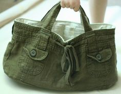 Make a bag from shorts - Click image to find more hot Pinterest pins