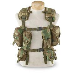 Used U.S. Military Surplus Camo Load Bearing Tactical Vest