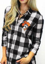 Gameday Couture OSU Womens Black Buffalo Check Dress Shirt