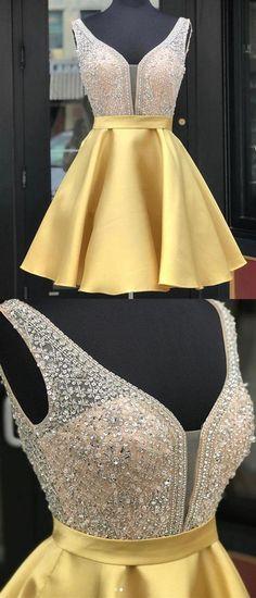 Yellow v neck sequin short prom dress Prom Dresses V-neck, Prom Dresses Yellow, Prom Dress, Sequin Prom Dresses, Prom Dresses Short Homecoming Dresses 2019 Yellow Homecoming Dresses, Sequin Prom Dresses, V Neck Prom Dresses, Sexy Dresses, Dress Prom, Short Party Dresses, Ball Dresses, Ball Gowns, Formal Dresses