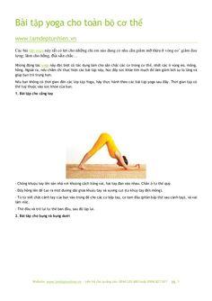 Bài tập yoga cho toàn bộ cơ thể by Làm đẹp tự nhiên via slideshare