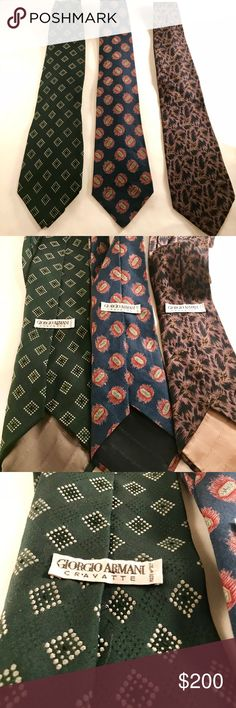 3 Vintage Giorgio Armani Mens Ties Three gently used Armani men's ties. Vintage and classic to any suit. For anymore info comment or message me! Giorgio Armani Accessories Ties