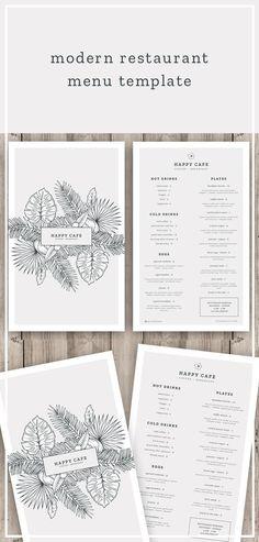 restaurant art Modern restaurant menu template / h - Menu Restaurant, Resturant Menu, Restaurant Menu Template, Café Design, Food Menu Design, Modern Design, Design Ideas, Brunch Cafe Menu, Speisenkarten Designs