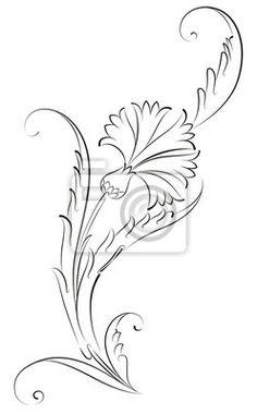 Fototapete Carnation Blumen-Muster-Fliesen-