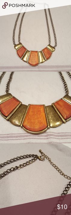 Statement Necklace Orange and gold statement necklace with clasp adjustable closure. Jewelry Necklaces