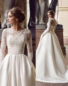 Wedding Dress Trumpet, Long Sleeve Wedding, Wedding Dress Sleeves, Lace Dress, Dresses With Sleeves, Dress Long, Lace Sleeves, Wedding Dress Pockets, Long Sleeved Wedding Dresses