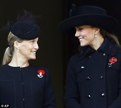 The Duchess of Cambridge and Sophie, Countess of Wessex  seen during the service of remembrance at the Cenotaph. November 11, 2012