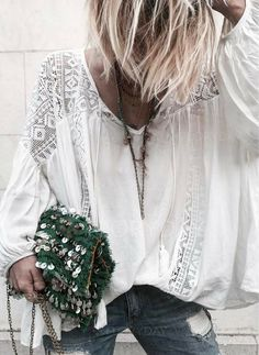 ╰☆╮Boho chic bohemian boho style hippy hippie chic bohème vibe gypsy fashion indie folk the . Bohemian Tops, Bohemian Style, Estilo Hippie Chic, Estilo Boho, Moda Boho, Fashion Mode, Look Fashion, Womens Fashion, Gypsy Fashion