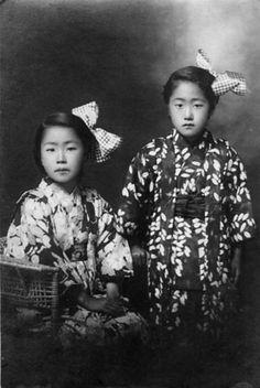 Sisters studio portrait - Matsu Miyoko 松美代子 ten year old & Matsu Shizue 松静枝 eight year old - Japan - April 2, 1923