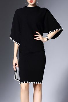 Shop joy&joso black beaded sweater and bodycon skirt here, find your sweater dresses at dezzal, huge selection and best quality. Suits Outfits, Mode Outfits, Elegant Dresses, Beautiful Dresses, Skirt Fashion, Fashion Dresses, Fashion Clothes, Black Women Fashion, Womens Fashion