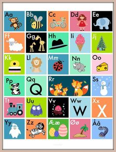 ABC plakaterne er en sjov og spændende måde at lære a Animals For Kids, Animals And Pets, Learning The Alphabet, Pictogram, Me On A Map, Pre School, Diy And Crafts, Kids Room, Homeschool
