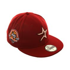 Exclusive New Era 59Fifty Houston Astros 45th Anniversary Patch Hat -  Sedona Red b08f93235