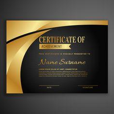modelo de design de certificado escuro luxo Certificate Layout, Certificate Background, Certificate Design Template, Eid Mubarak Wallpaper, Vector Design, Graphic Design, Award Template, Color Palette Challenge, Certificate Of Achievement