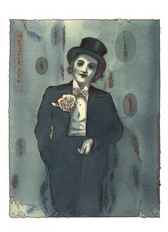Marlene Dietrich en travestie; Giclee print from a watercolour drawing made for the Nightingale Project 2013