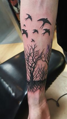 #tattoo #tree #forest #black #bird #sleeve #abstract