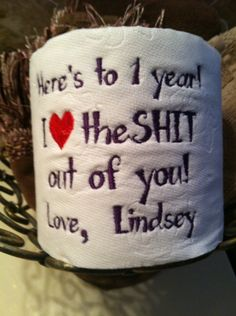 Custom Embroidered Toilet Paper for 1st Paper by TootsiesGirls