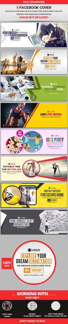 Facebook Cover 8 Design Templates PSD