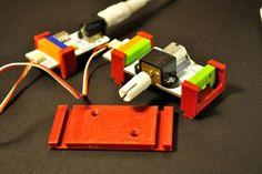 Motor mount for LittleBits DC motor. New Littlebits Clips design with dovetail slides. STL files can be downloaded at Thingiverse ... http:...