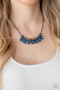 Paparazzi Accessories - Graciously Audacious - Blue Necklace White Earrings, Blue Necklace, Short Necklace, Paparazzi Accessories, Paparazzi Jewelry, Black Rings, Bracelets For Men, Earring Set