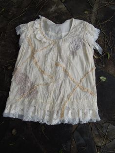 vintage inspired lace cotton shirtshabby crochet by wildskin, $50.00