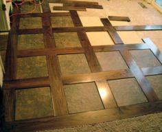 basketweave Wood Floor Border | upstairs sunroom room transition. no tile, wood inside
