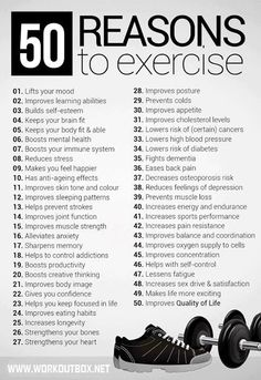 50 Reasons to Exercise.   Lazar Angelov posted this.   #Fitness #Motivation #Health #Active