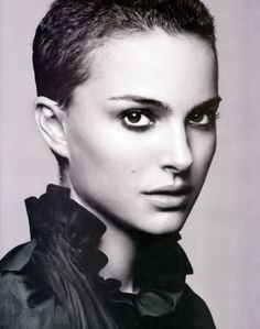 "Natalie Portman wears an extreme pixie haircut & makes it look amazing! (cut short for a role in Vendetta....""V"" years ago...it was a ""buzz cut"" & this is longer...lovely."